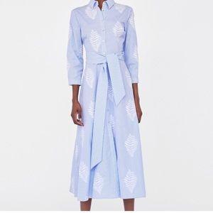 Zara striped & embroidered tunic dress. Blue/White
